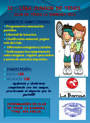 cb9f27a8754 Os adjuntamos la Normativa de la Liga Infantil de Tenis a celebrar en el  Club de Tenis